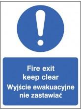 Fire Exit Keep Clear (English / Polish)