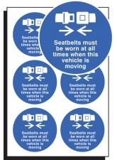 6 x Seatbelts Worn All Times Labels - 65mm Diameter