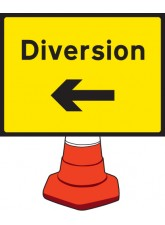 Diversion Left Cone Sign - 600 x 450mm