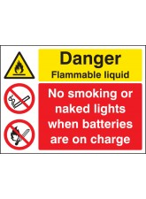 Flammable Liquid No Smoking / naked Lights Batteries On Charge