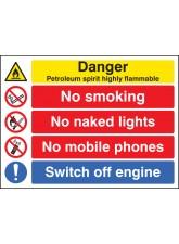 Petroleum Spirit Highly Flammable / no Smoking Etc